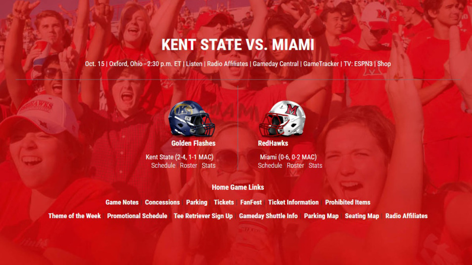 Gameday Central: Miami vs. Kent State - Miami University RedHawks on ohio state parking map, stockton state parking map, washington state university parking map, michigan state parking map, buffalo state parking map, kent state library, kent state shirt, illinois state parking map, kent state mascot, ohio state university athens campus map, miss state parking map, kansas state university on a map, arizona state parking map, angelo state parking map, kent state baseball, bridgewater state parking map, app state parking map, montana state parking map, truman state parking map, indiana state parking map,