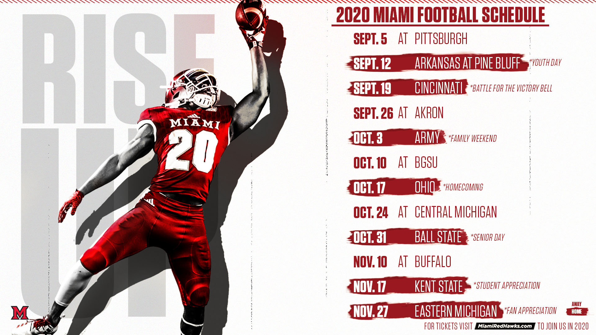2020 Football Schedule Announced Miami University Redhawks